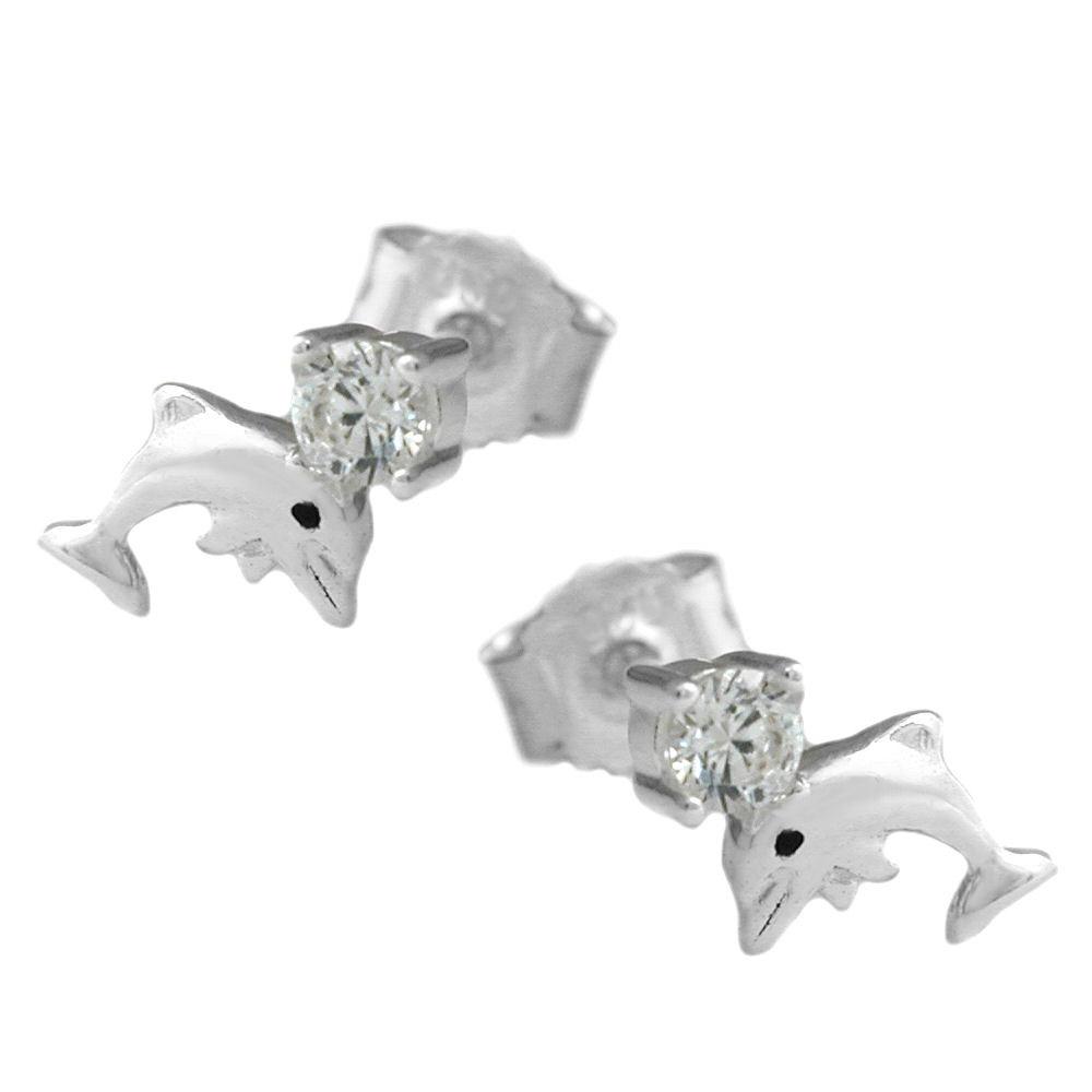 Ohrstecker 9x5mm Delfin mit Zirkonia Silber 925