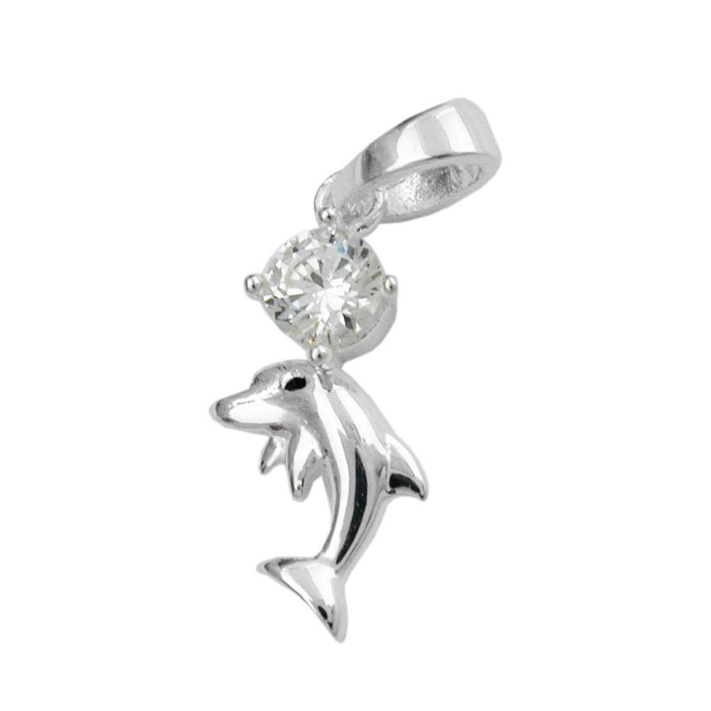 Anhänger 16x8mm Delfin mit Zirkonia glänzend Silber 925