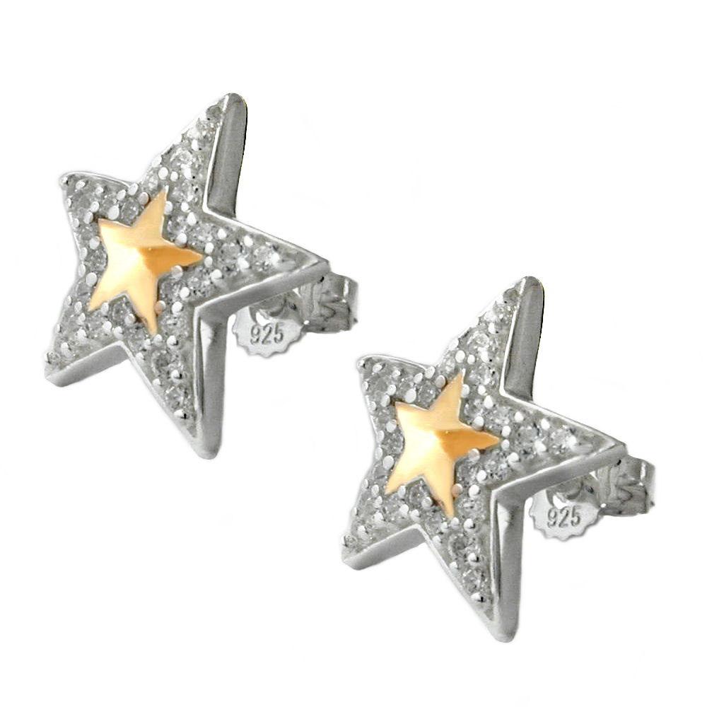 Ohrstecker, Stern mit Zirkonia, Silber 925