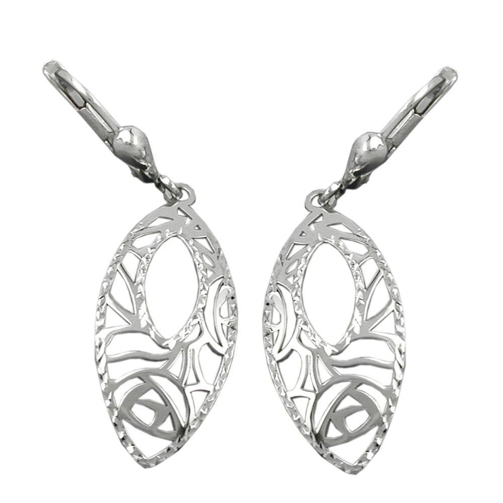 Ohrringe Brisur, Muster durchbrochen, Silber 925