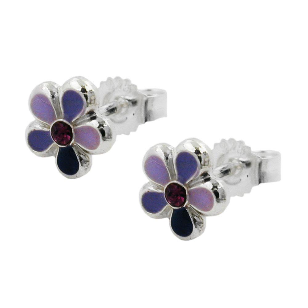 Ohrstecker, Blume lila-lackiert Silber 925