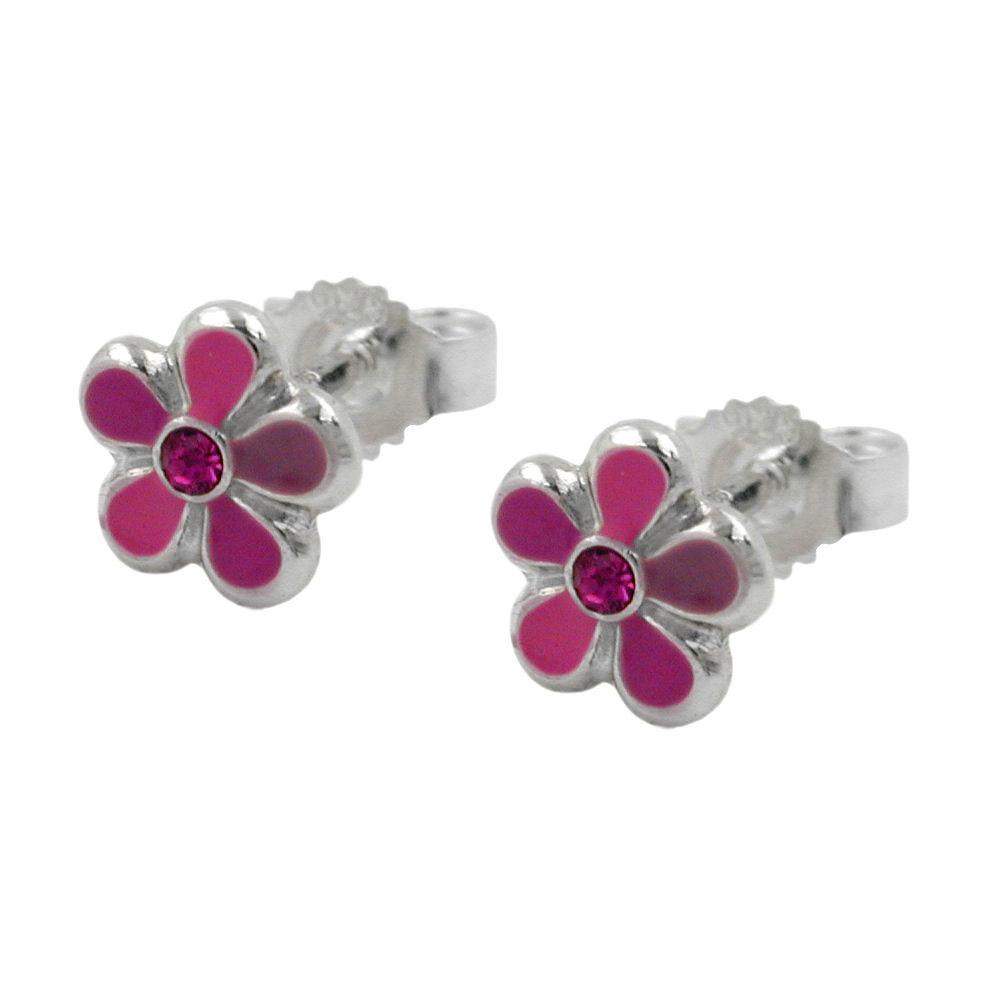Ohrstecker, Blume pink-lackiert Silber 925