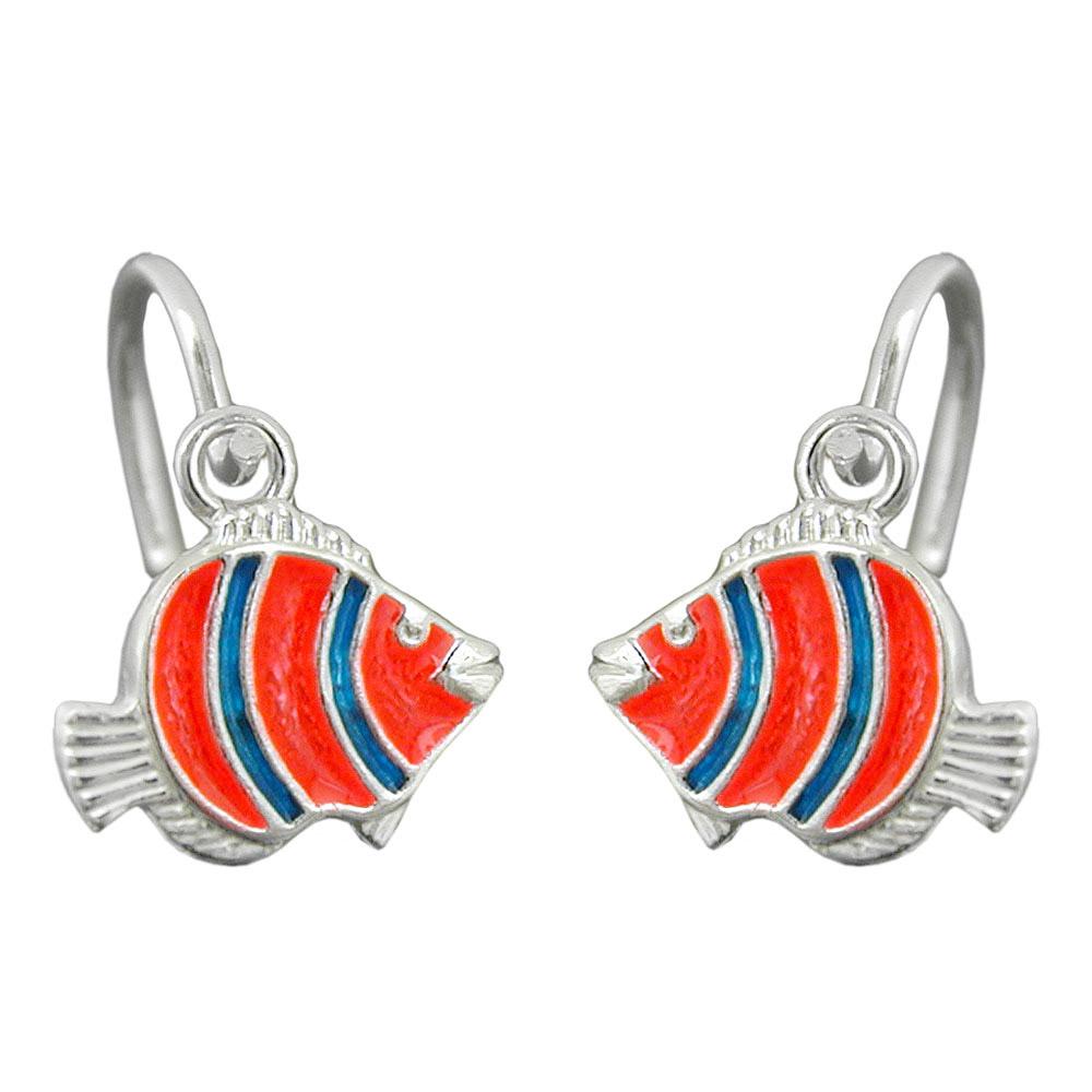 Ohrringe Brisur, Clownfisch orange blau, 925