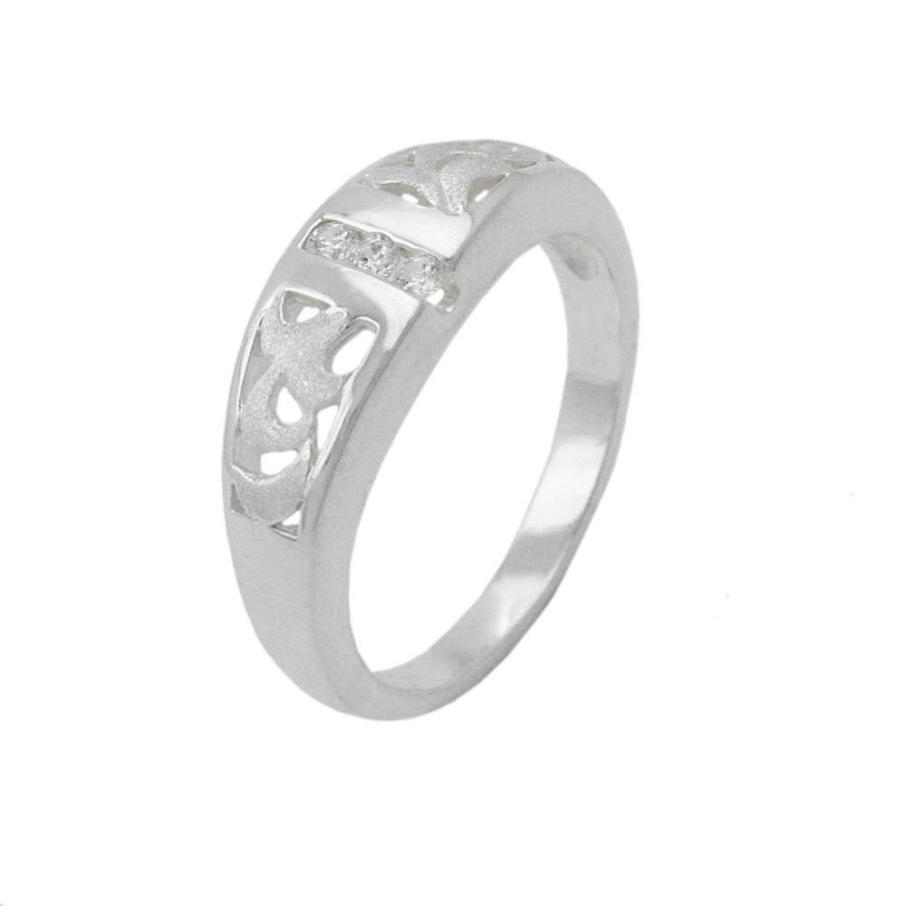 Ring, matt-glänzend, mit 3x Zirkonia, 925