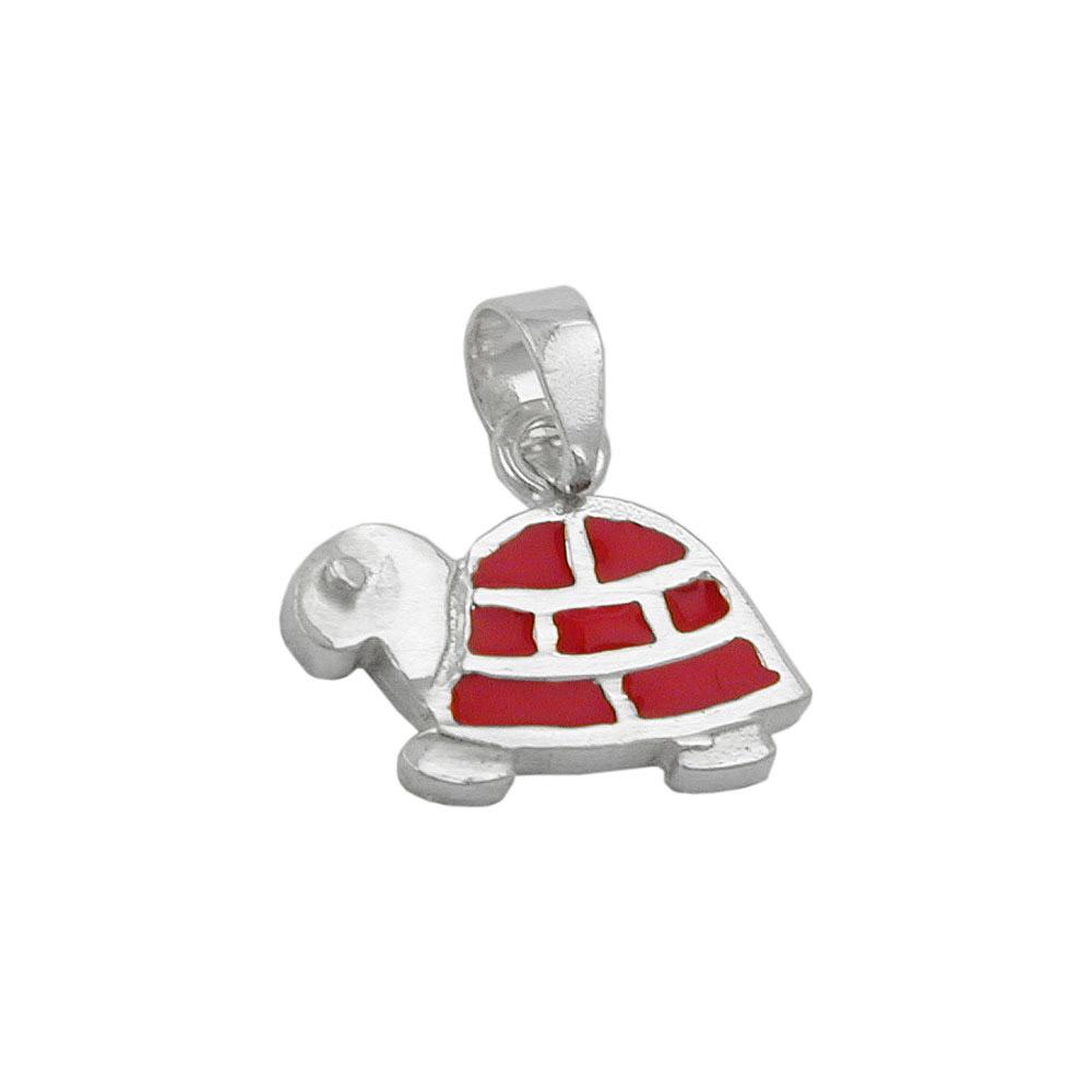 Anhänger, Schildkröte rot-silber, 925