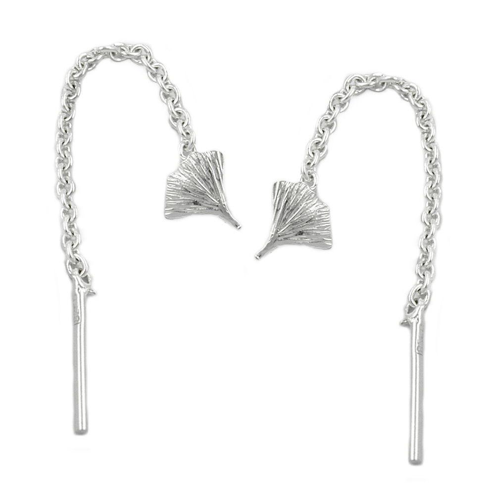 Ohrringe Durchzieher 57mm Ginkgoblatt Silber 925