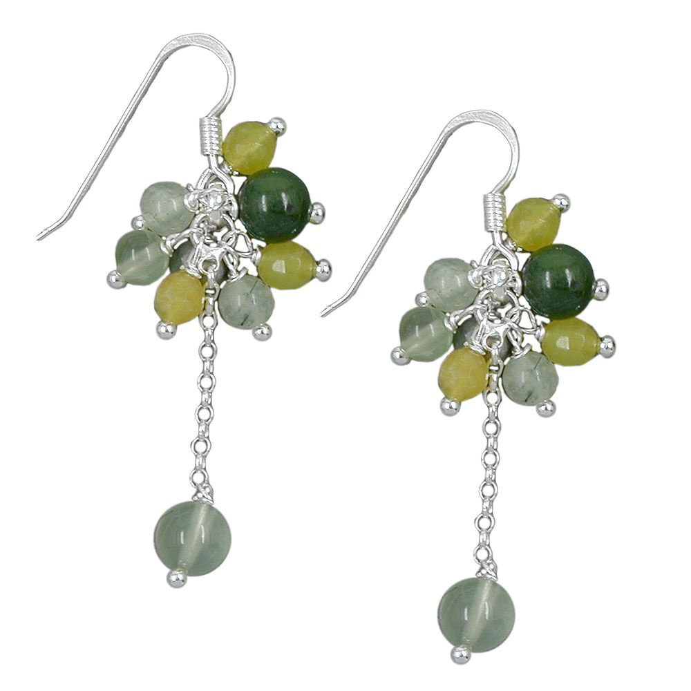 Ohrringe Ohrhaken, grün-quarz-ton, Silber 925
