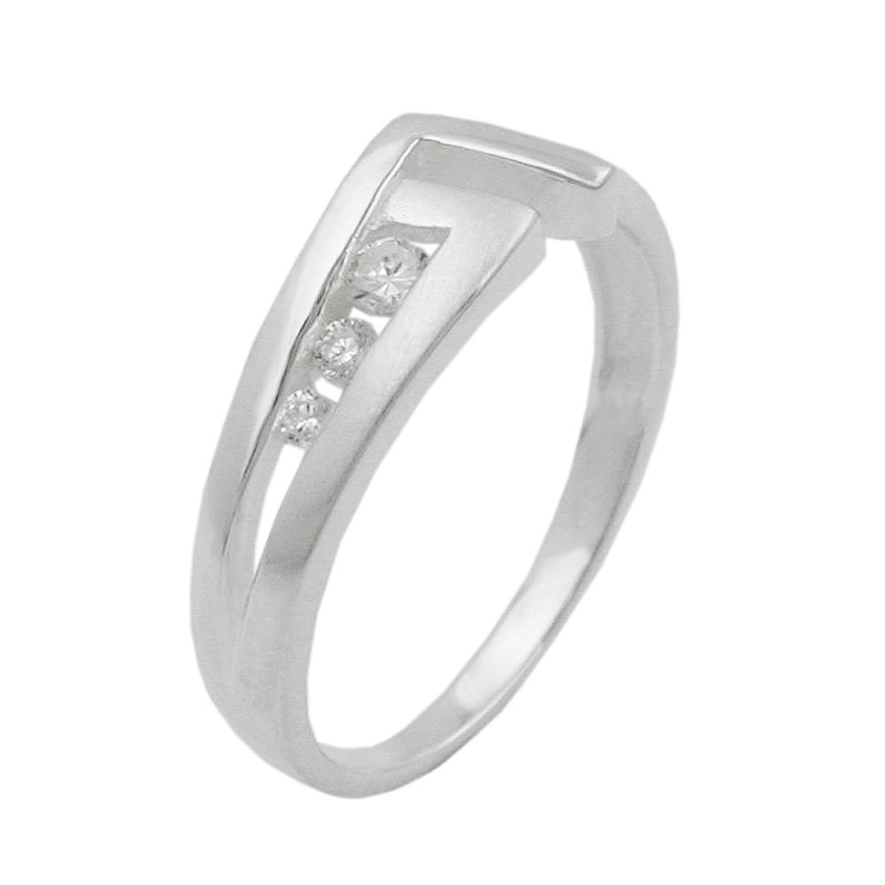 Ring, 7mm mit 3 Zirkonia, Silber 925