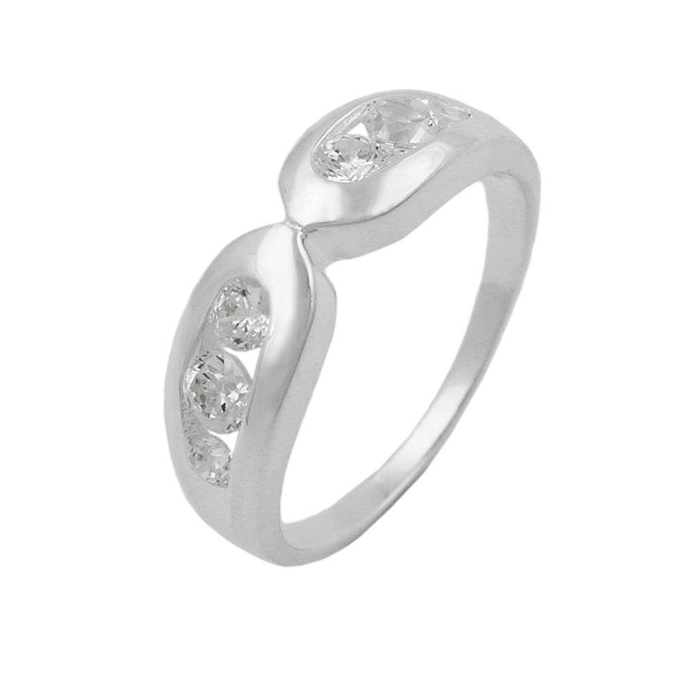 Ring, 6mm mit 6x Zirkonia, Silber 925
