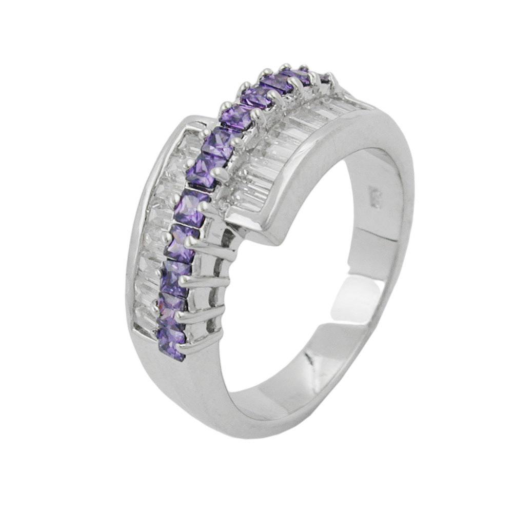 Ring, Zirkonia amethyst-weiß, Silber 925