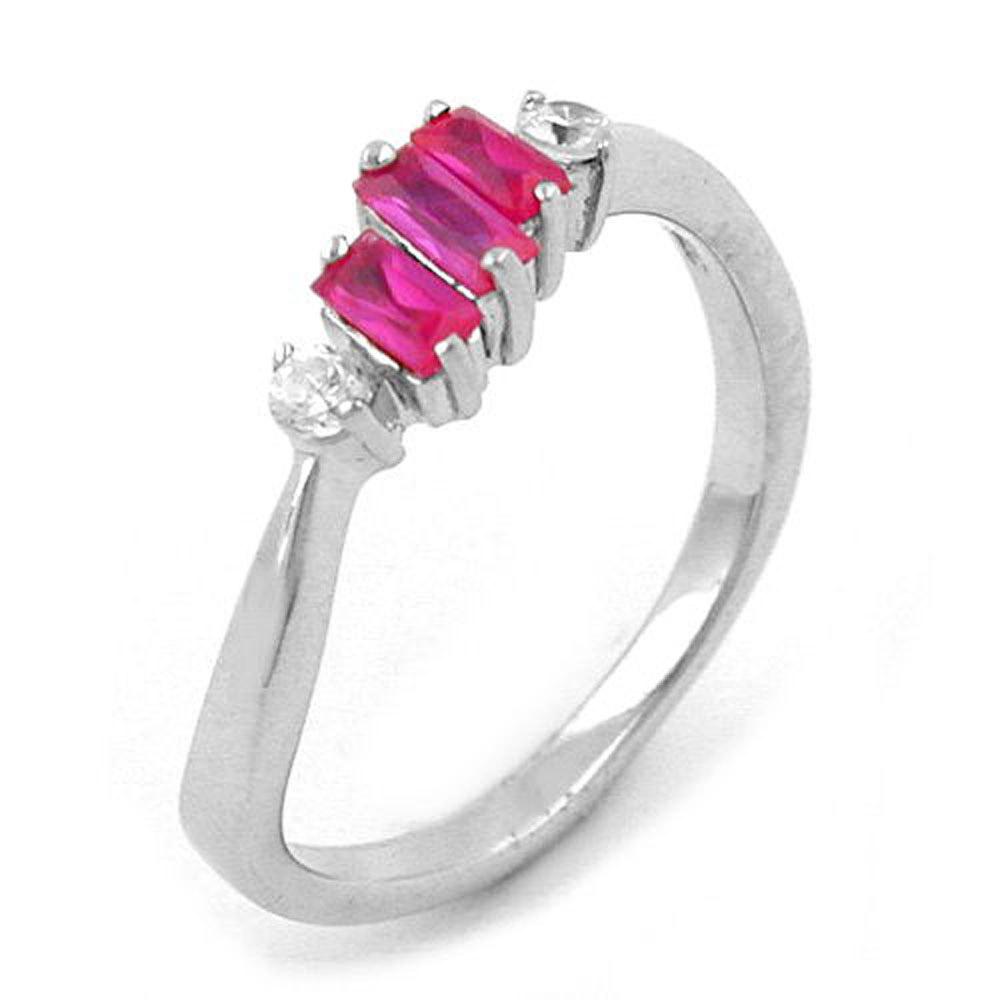 Ring, Zirkonia pink-weiß, Silber 925