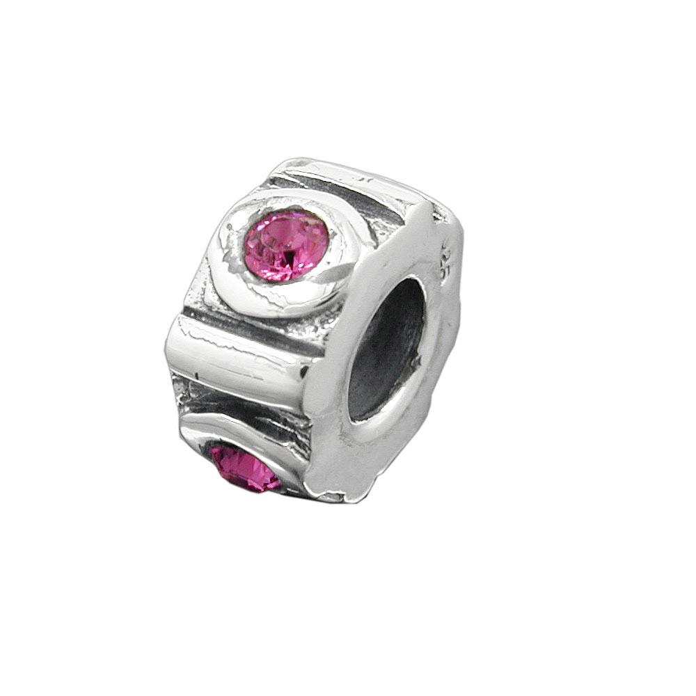 Bead, pink, Silber 925