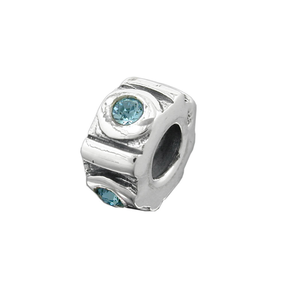 Bead, aqua, Silber 925