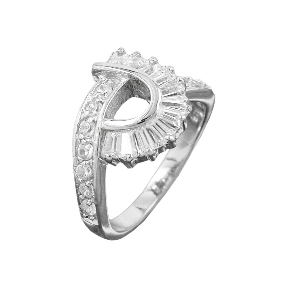 Ring, Zirkonia, rhodiniert Silber 925