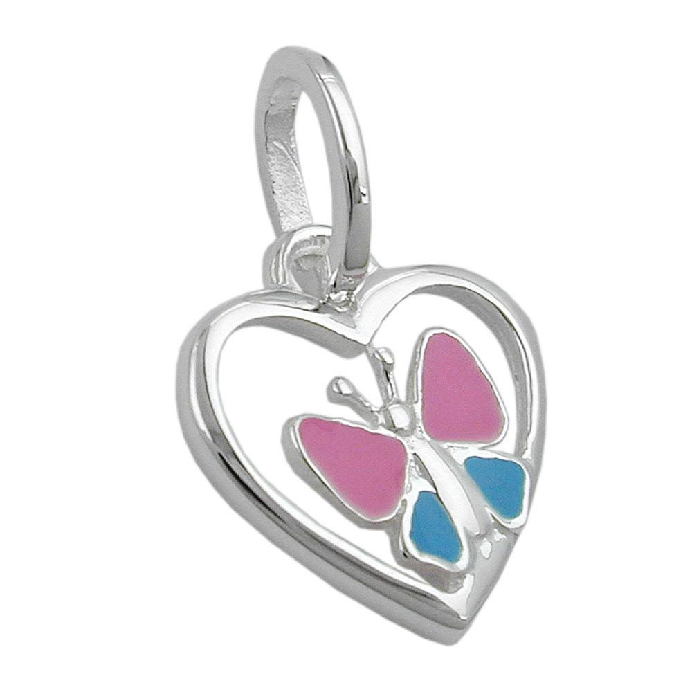 Anhänger, Herz-Schmetterling, Silber 925