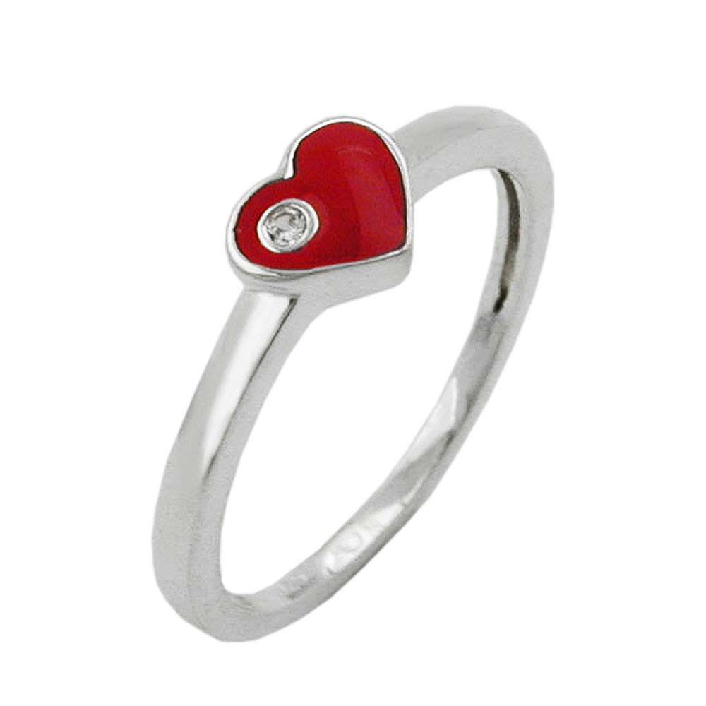 Ring Kinder Herz-rot Zirkonia Silber 925