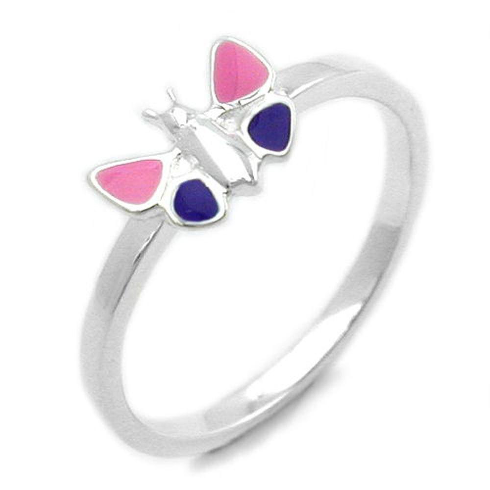 Ring Kinder Schmetterling fbg. Silber 925