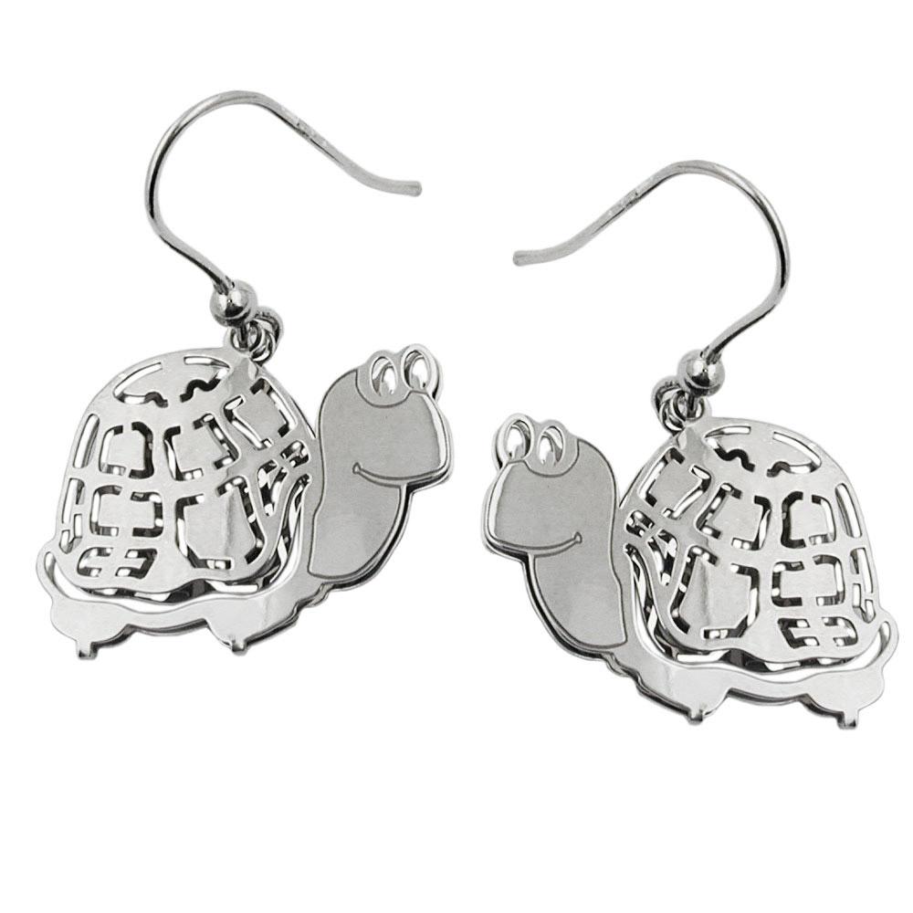 Ohrringe Ohrhaken, Schildkröte, Silber 925