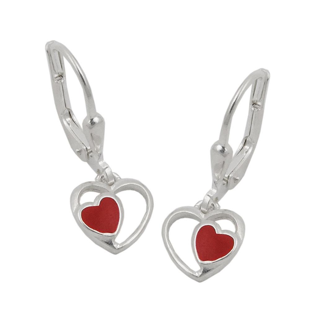 Ohrringe Brisur, rotes Herz im Herz, Silber 925