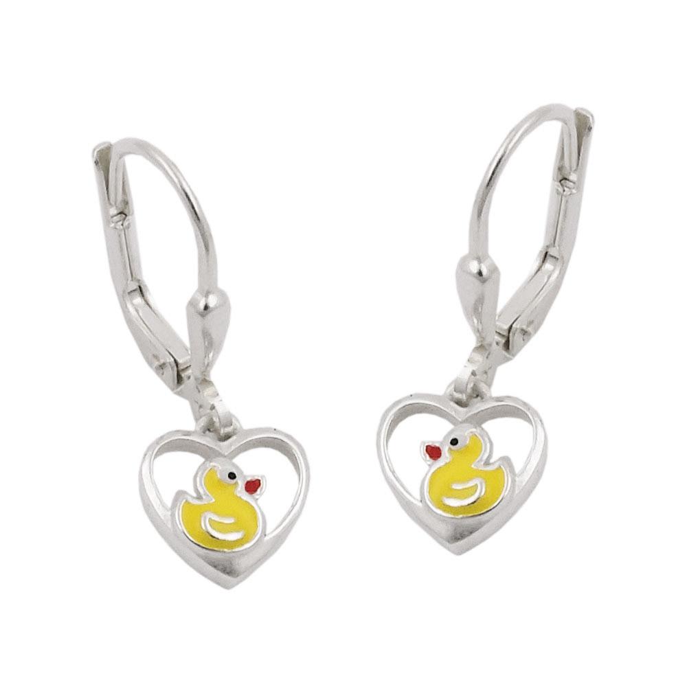 Ohrringe Brisur, kleine Ente im Herz, Silber 925
