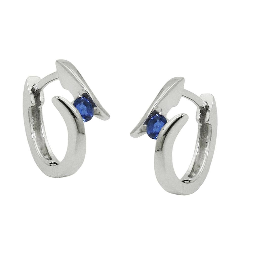 Creolen, Zirkonia blau, Silber 925