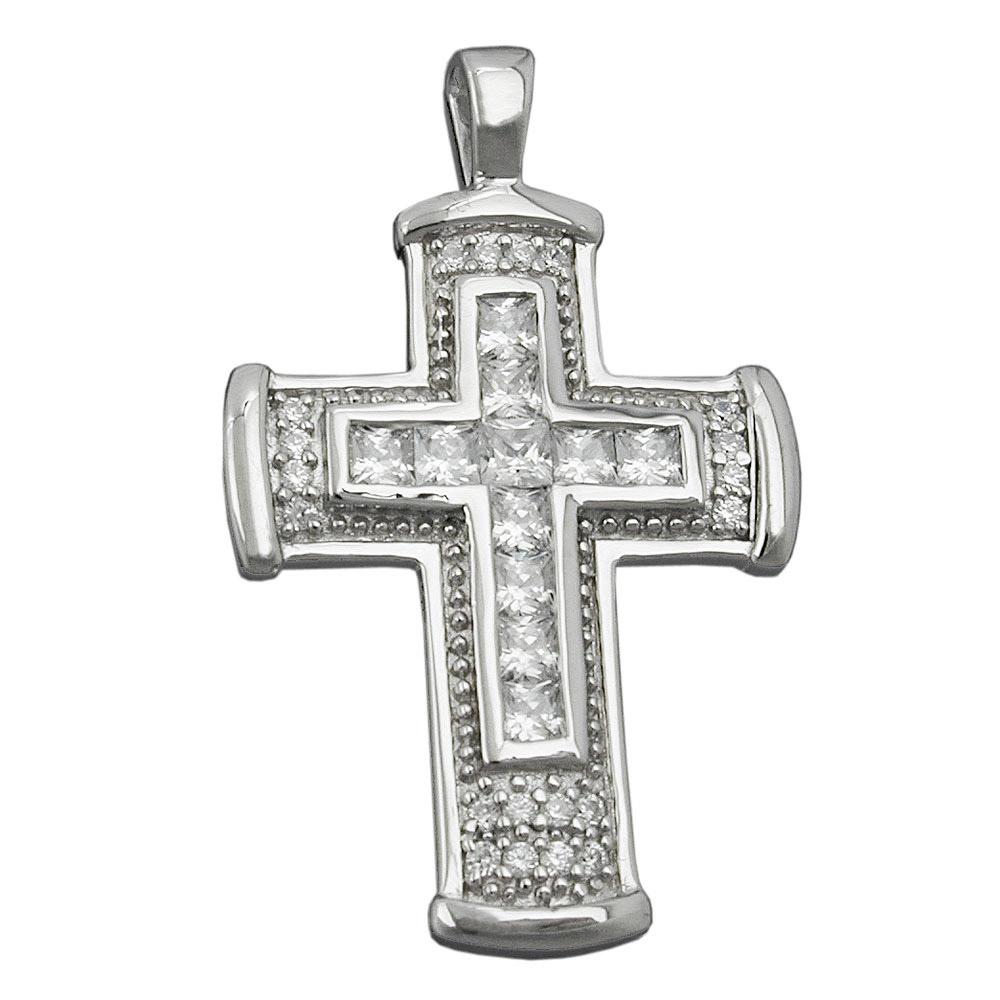 Anhänger Kreuz mit Zirkonia, Silber 925