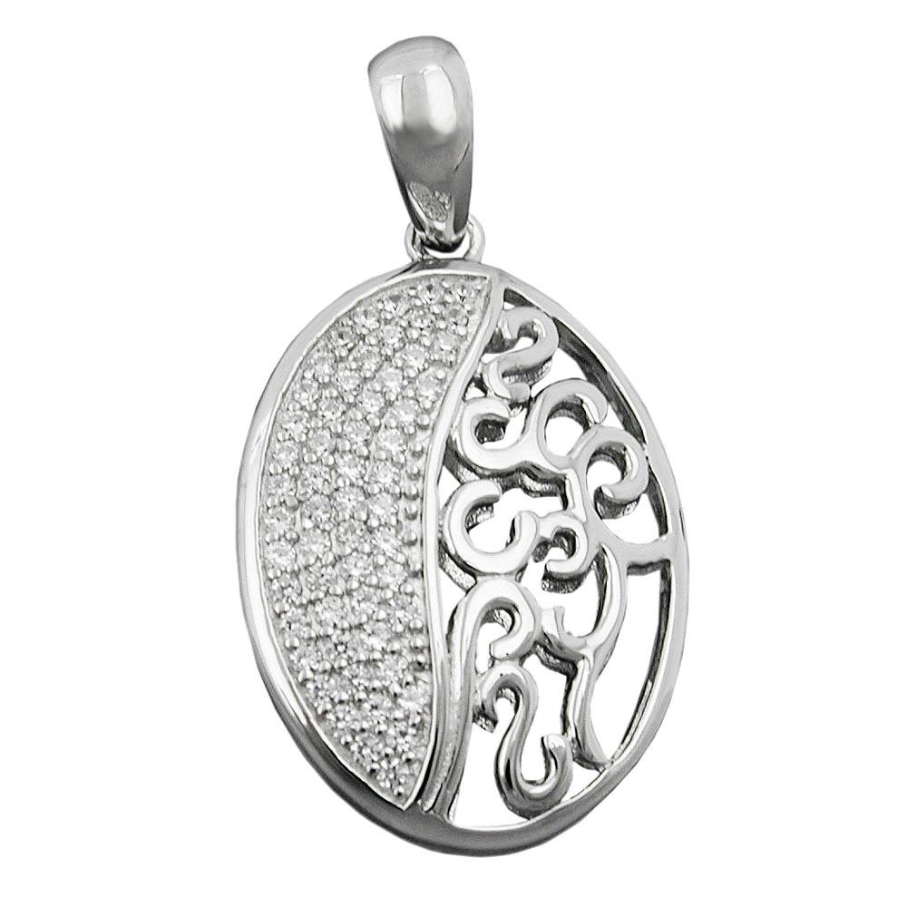 Anhänger, oval mit Zirkonia, Silber 925