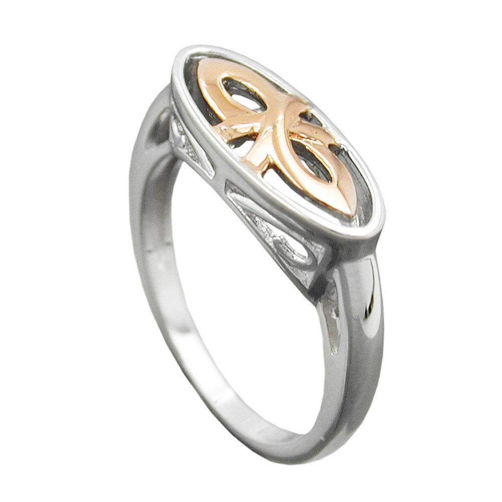 Ring, bicolor, rhodiniert, Silber 925