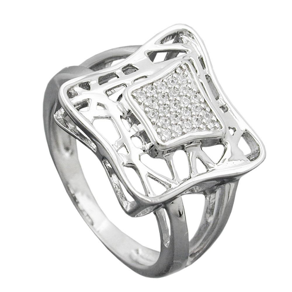 Ring, Viereck mit Zirkonia, Silber 925