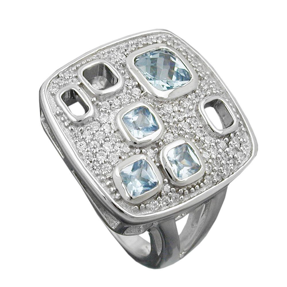 Ring, Viereck, Zirkonia, Silber 925