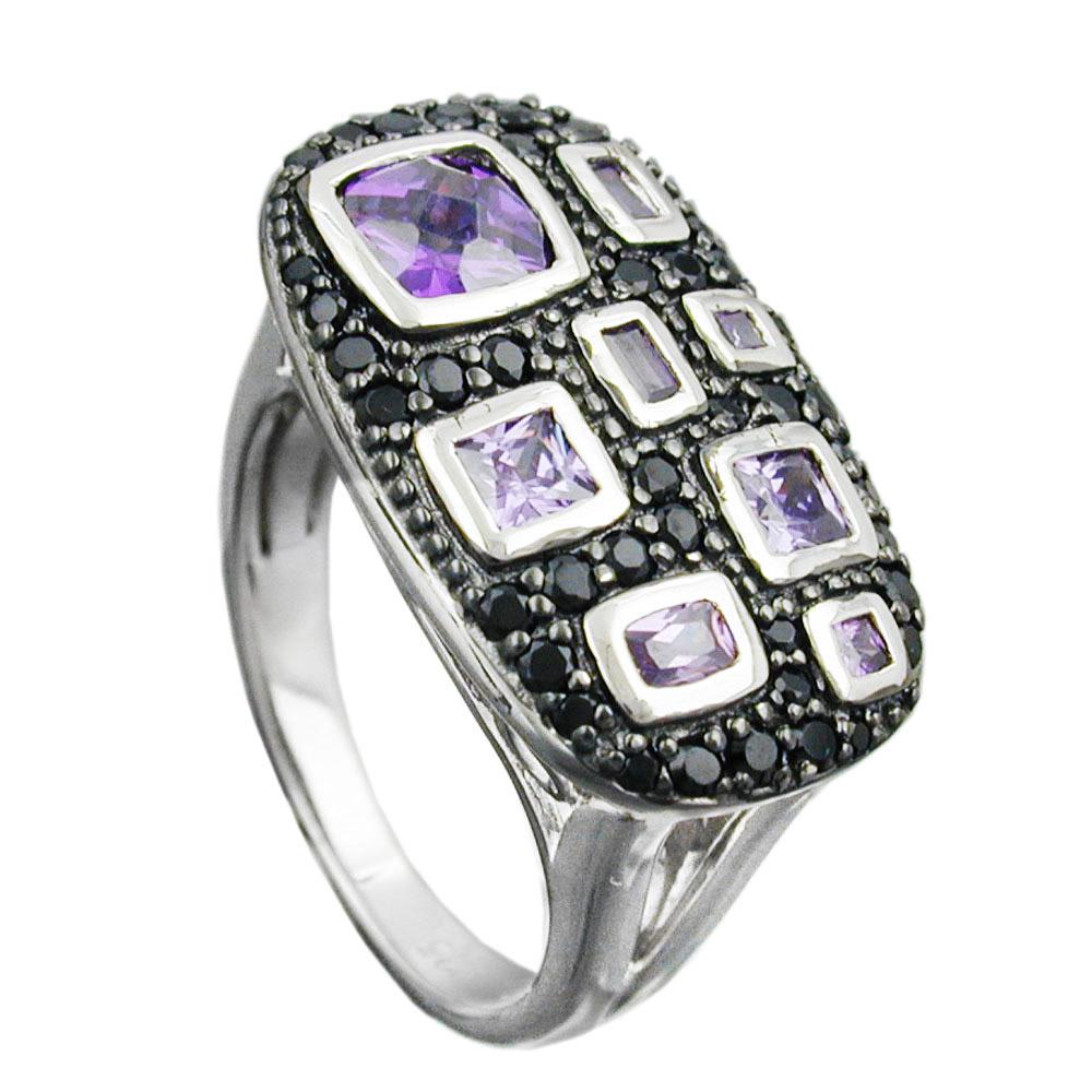 Ring, Zirkonia lila-schwarz, Silber 925