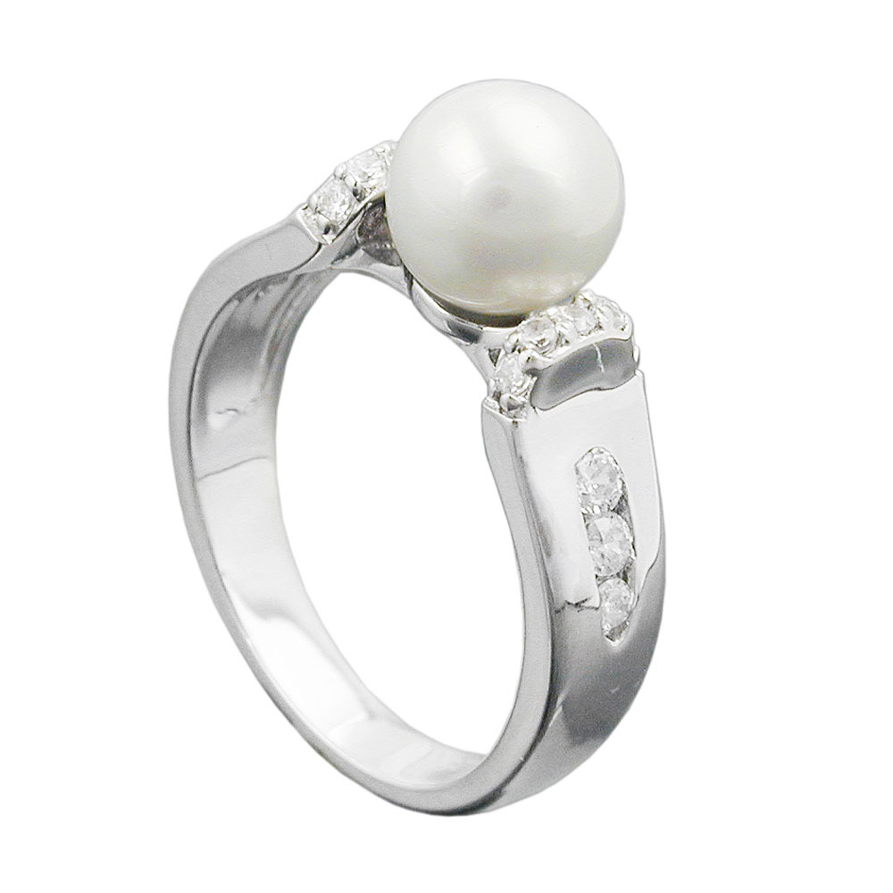 Ring, Zuchtperle, Zirkonia, Silber 925