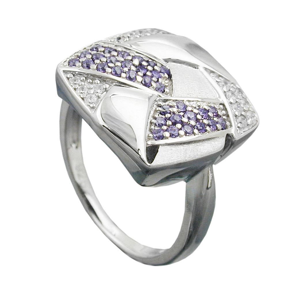 Ring, Viereck, mit Zirkonia, Silber 925