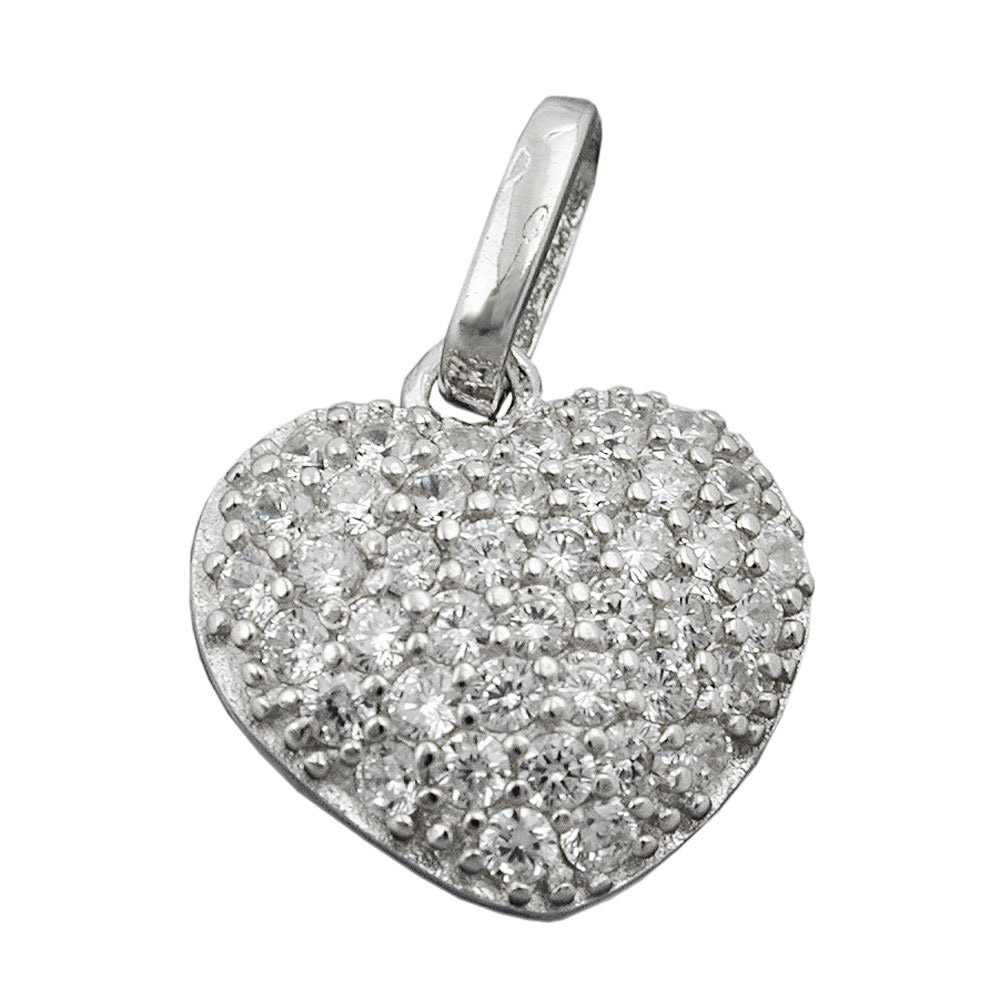 Anhänger, Herz, Zirkonia, Silber 925