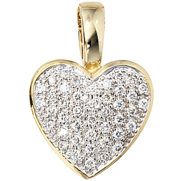 Anhänger Herz 585 Gold Gelbgold 42 Diamanten Brillanten 0,25ct. Herzanhänger