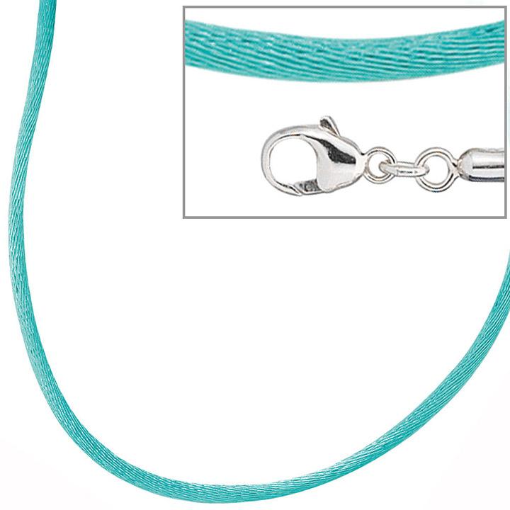Collier Halskette Seide türkis 42 cm, Verschluss 925 Silber Kette