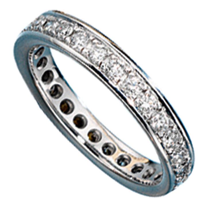 Memory Ring 585 Gold Weißgold mit Diamanten Brillanten rundum Memoryring