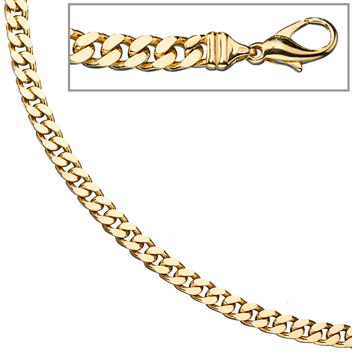 Panzerkette 585 Gelbgold massiv 5,5 mm 45 cm Gold Kette Halskette Goldkette