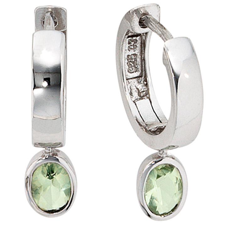 Creolen 925 Sterling Silber 2 Zirkonia grün Ohrringe Silbercreolen