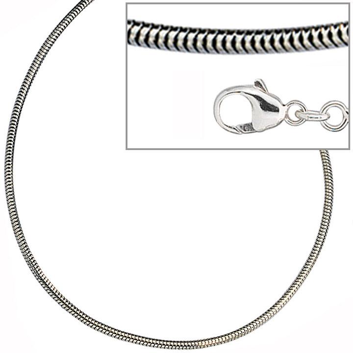 Schlangenkette 925 Silber 1,6 mm 50 cm Halskette Kette Silberkette Karabiner