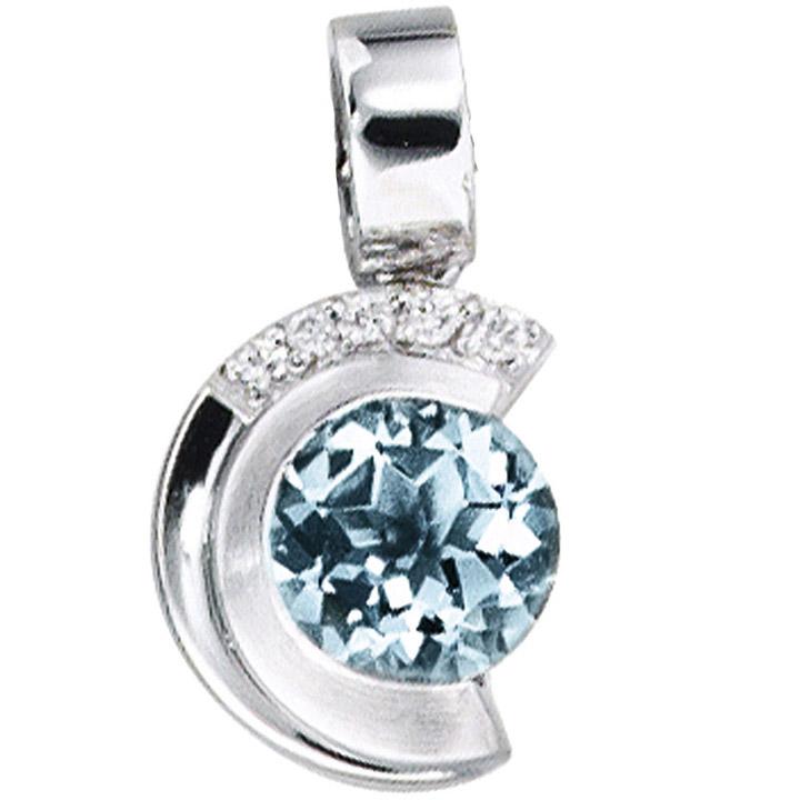 Anhänger 585 Gold Weißgold mattiert 5 Diamanten Brillanten 1 Aquamarin blau