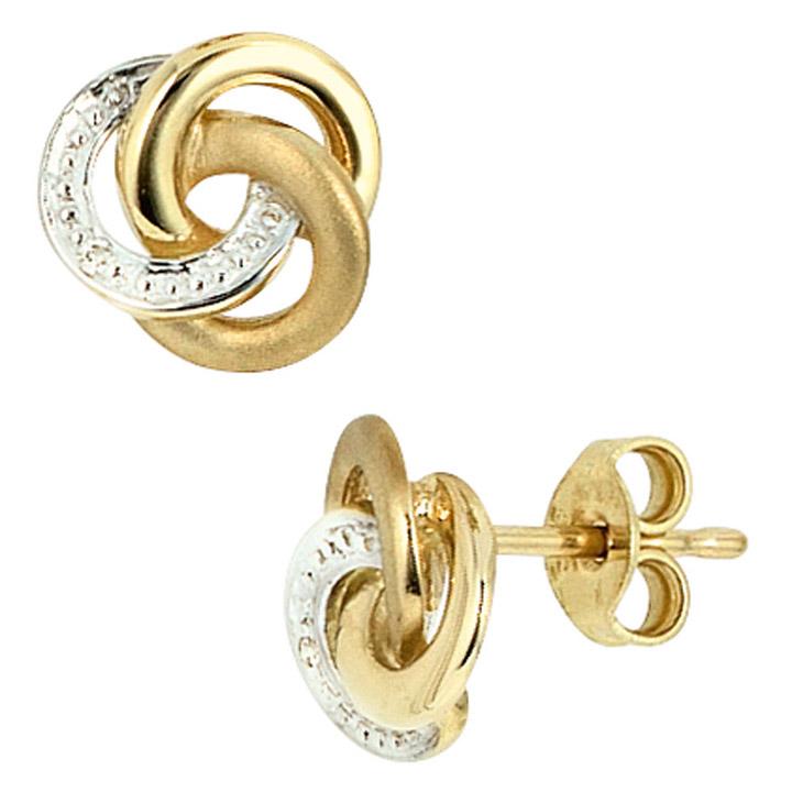 Ohrstecker Knoten verschlungen 585 Gold Gelbgold bicolor 2 Diamanten Ohrringe