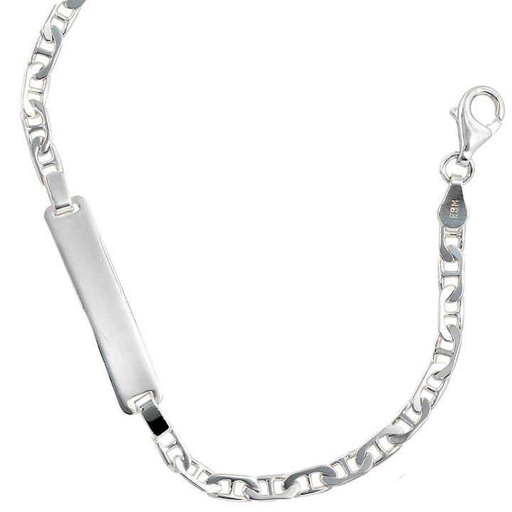 Schildband 925 Sterling Silber 19 cm Gravur ID Armband Karabiner