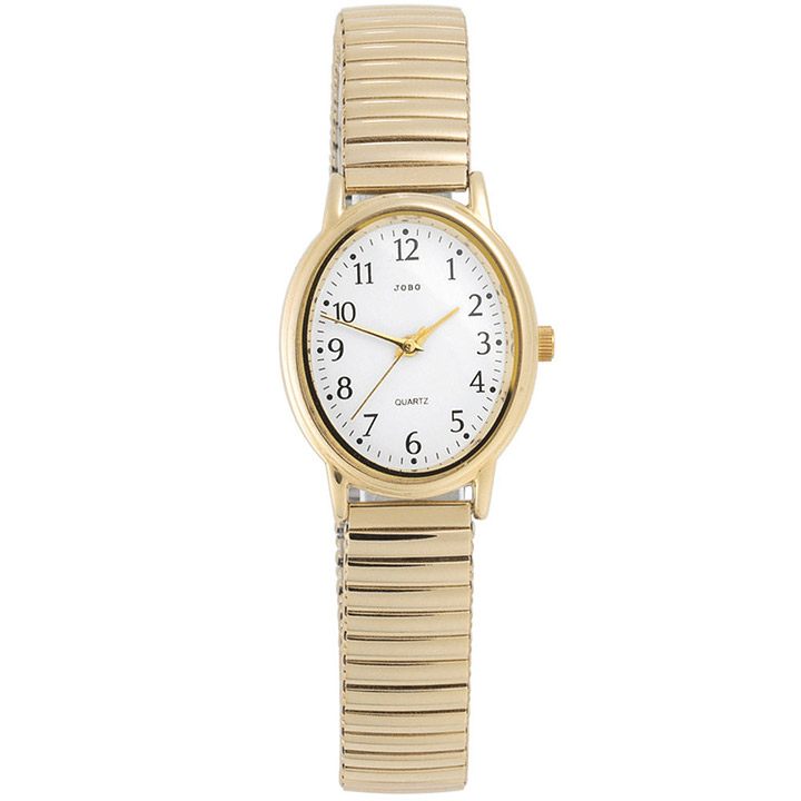 Damen Armbanduhr Quarz Analog Edelstahl vergoldet Flexband Damenuhr oval