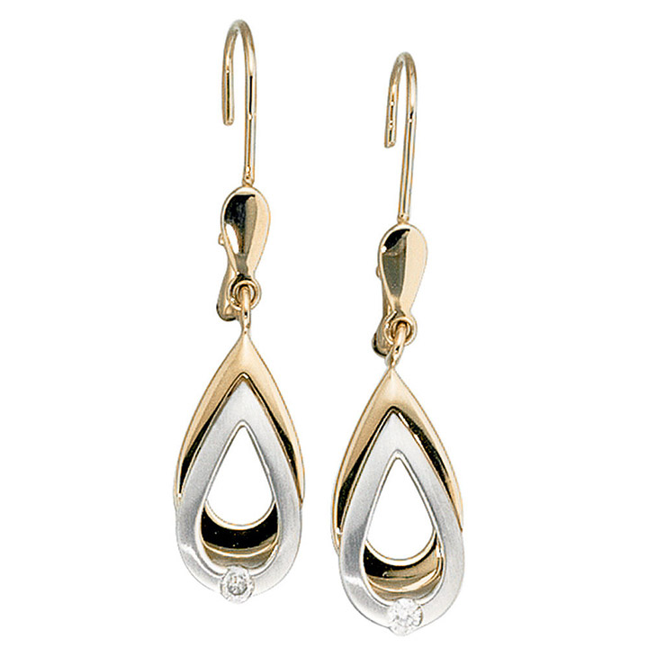 Ohrhänger 585 Gold Gelbgold Weißgold bicolor 2 Diamanten Brillanten Ohrringe