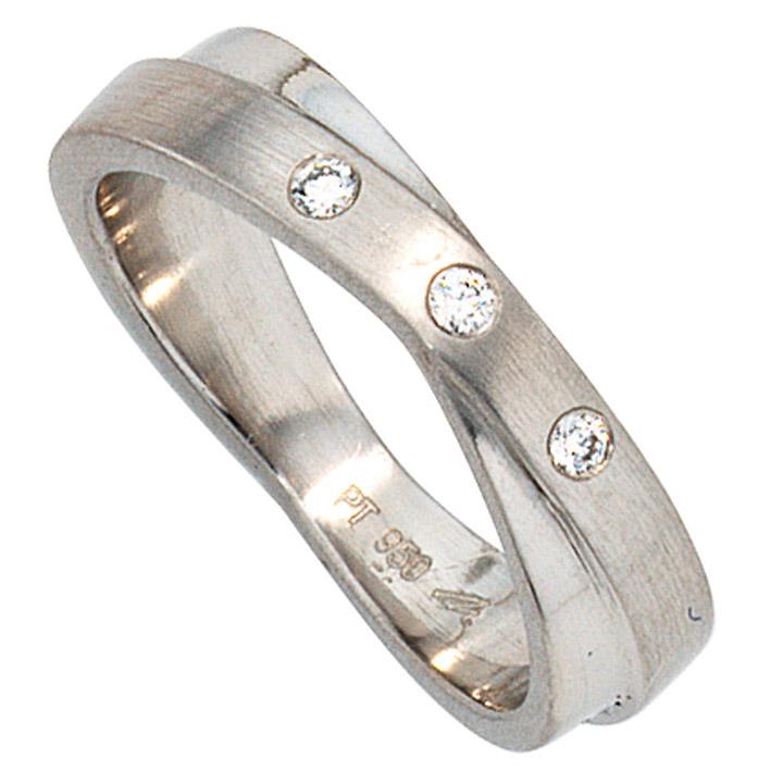 Damen Ring 950 Platin mattiert 3 Diamanten Brillanten 0,06ct. Platinring
