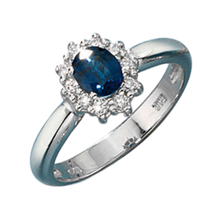 Damen Ring 585 Gold Weißgold 1 Safir blau 10 Diamanten Brillanten Goldring