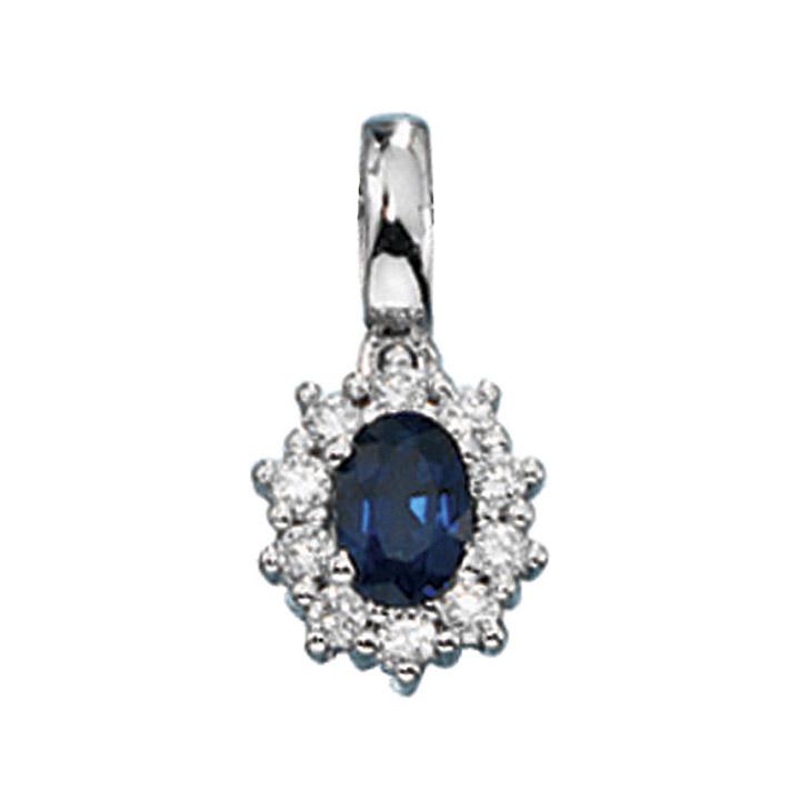 Anhänger 585 Gold Weißgold 10 Diamanten Brillanten 1 blauer Safir Goldanhänger