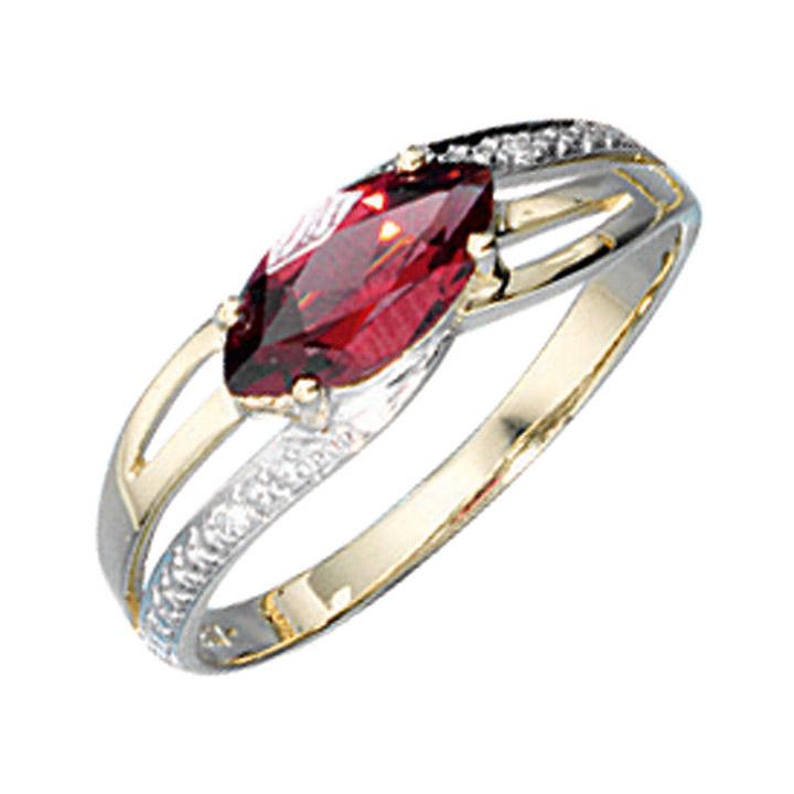 Damen Ring 585 Gold Gelbgold bicolor 1 Granat rot 2 Diamanten Brillanten