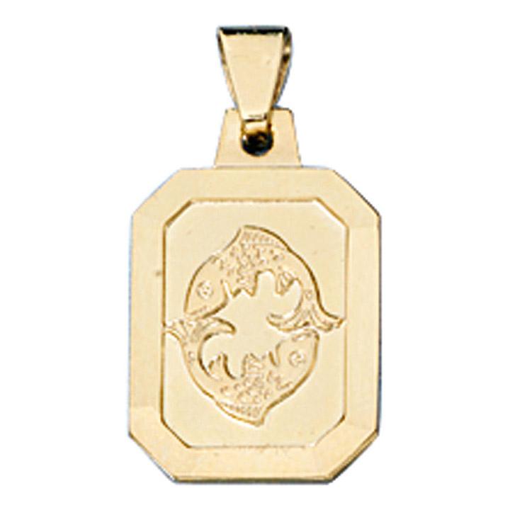 Anhänger Sternzeichen Fische 333 Gold Gelbgold matt Sternzeichenanhänger